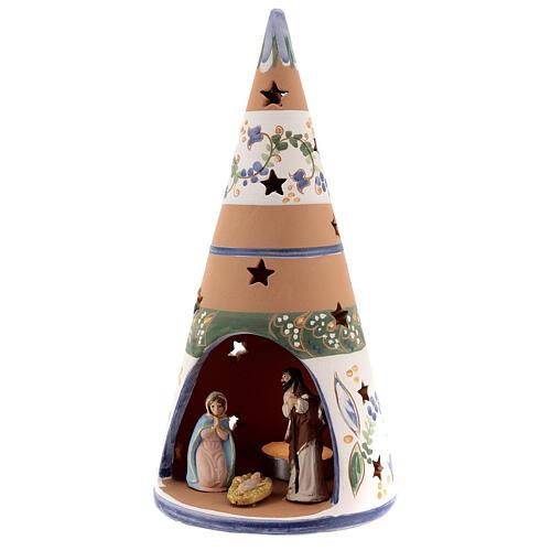 Cone with Nativity set colored Deruta terracotta 25 cm blue 2