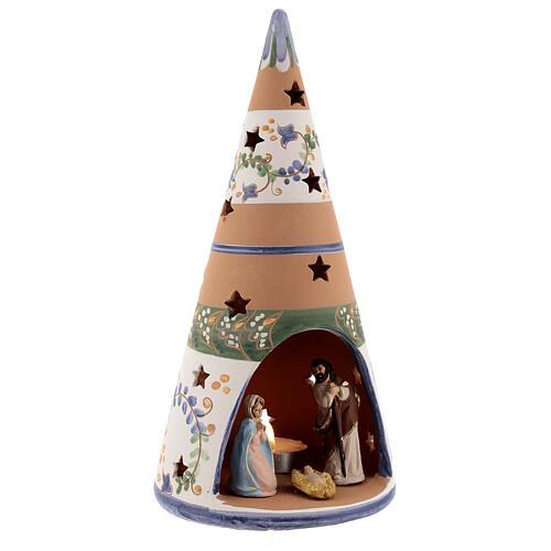 Cone with Nativity set colored Deruta terracotta 25 cm blue 3