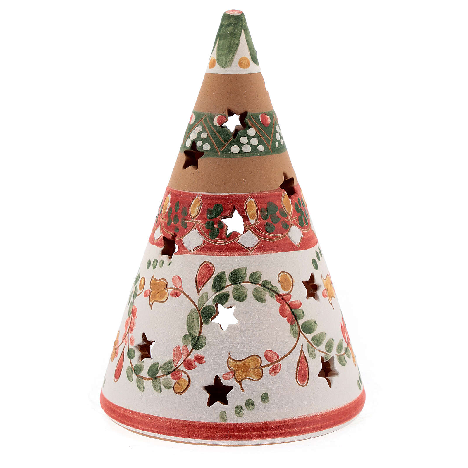 Red cone with statues in Deruta terracotta with light 15 cm 4