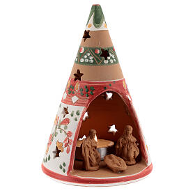 Red cone with statues in Deruta terracotta with light 15 cm s3