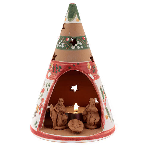 Red cone with statues in Deruta terracotta with light 15 cm 1