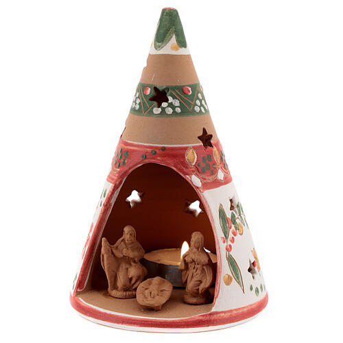 Red cone with statues in Deruta terracotta with light 15 cm 2
