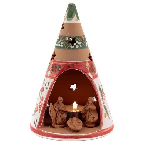 Red cone christmas tree terracotta tealight Deruta 15 cm 1