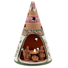 Holy Family cone in natural Deruta terracotta with light and pink decorations 15 cm s1