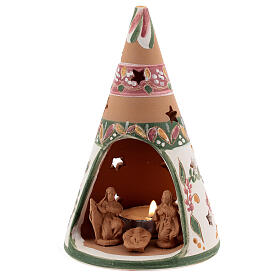 Holy Family cone in natural Deruta terracotta with light and pink decorations 15 cm s2