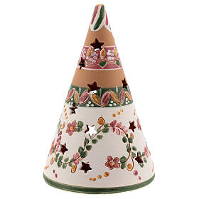 Holy Family cone in natural Deruta terracotta with light and pink decorations 15 cm s4