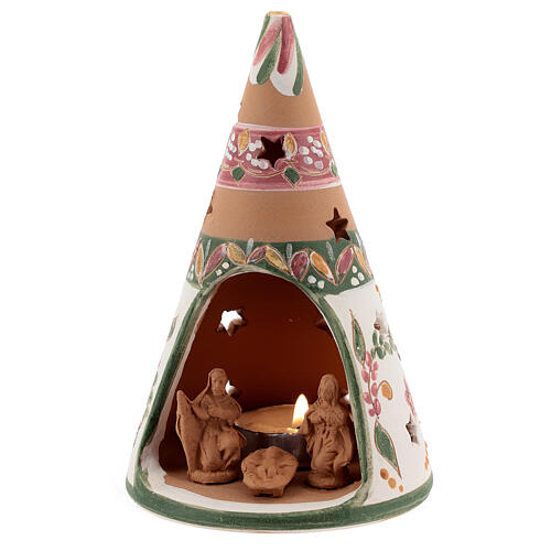 Holy Family cone in natural Deruta terracotta with light and pink decorations 15 cm 2