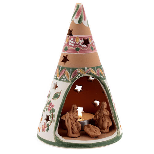 Holy Family cone in natural Deruta terracotta with light and pink decorations 15 cm 3