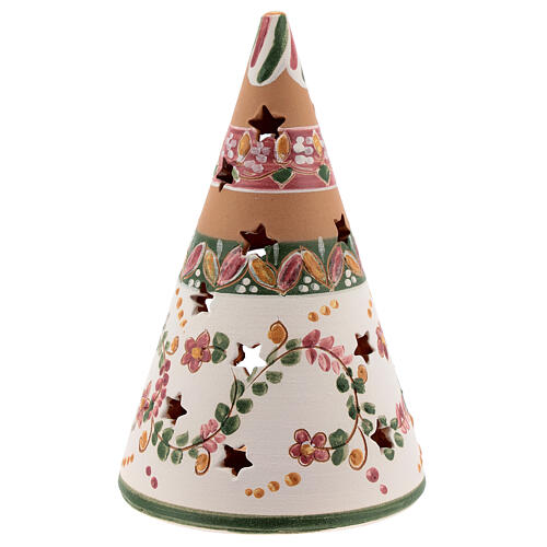 Holy Family cone in natural Deruta terracotta with light and pink decorations 15 cm 4
