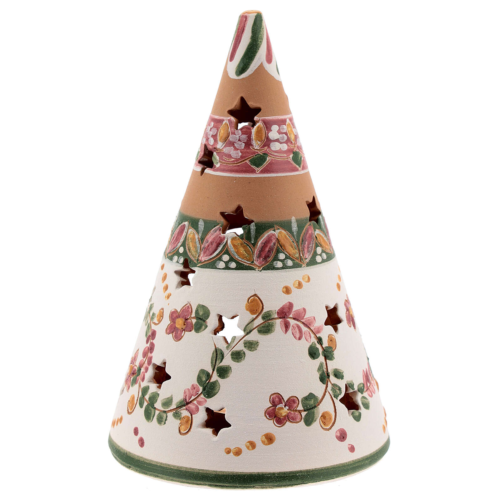 Cono Sagrada Familia terracota natural vela Deruta 15 cm motivos rosas 4