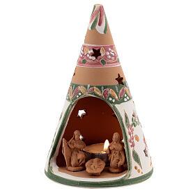 Cono Sacra Famiglia terracotta naturale lumino Deruta 15 cm decori rosa s2