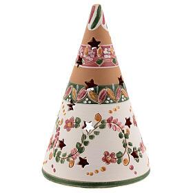Cono Sacra Famiglia terracotta naturale lumino Deruta 15 cm decori rosa s4