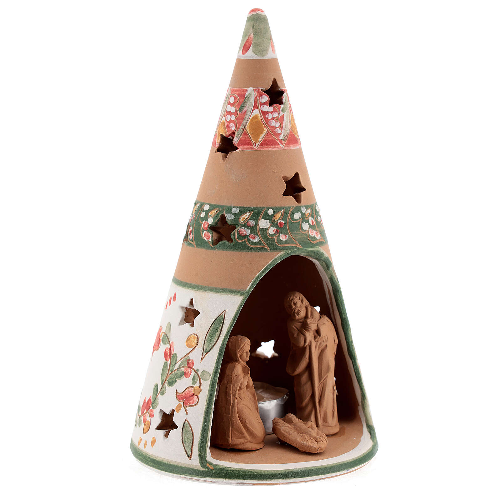 Holy Family cone in natural Deruta terracotta with light and pink decorations 20 cm 4