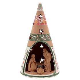 Holy Family cone in natural Deruta terracotta with light and pink decorations 20 cm s1