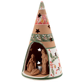 Holy Family cone in natural Deruta terracotta with light and pink decorations 20 cm s2