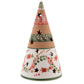Holy Family cone in natural Deruta terracotta with light and pink decorations 20 cm s4