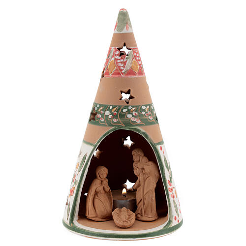 Holy Family cone in natural Deruta terracotta with light and pink decorations 20 cm 1