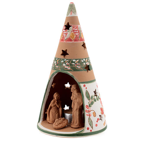 Holy Family cone in natural Deruta terracotta with light and pink decorations 20 cm 2