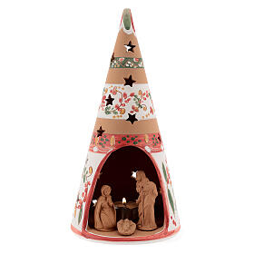 Christmas cone Nativity country natural terracotta 25 cm Deruta s1