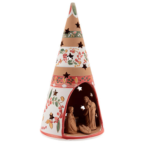 Christmas cone Nativity country natural terracotta 25 cm Deruta 3