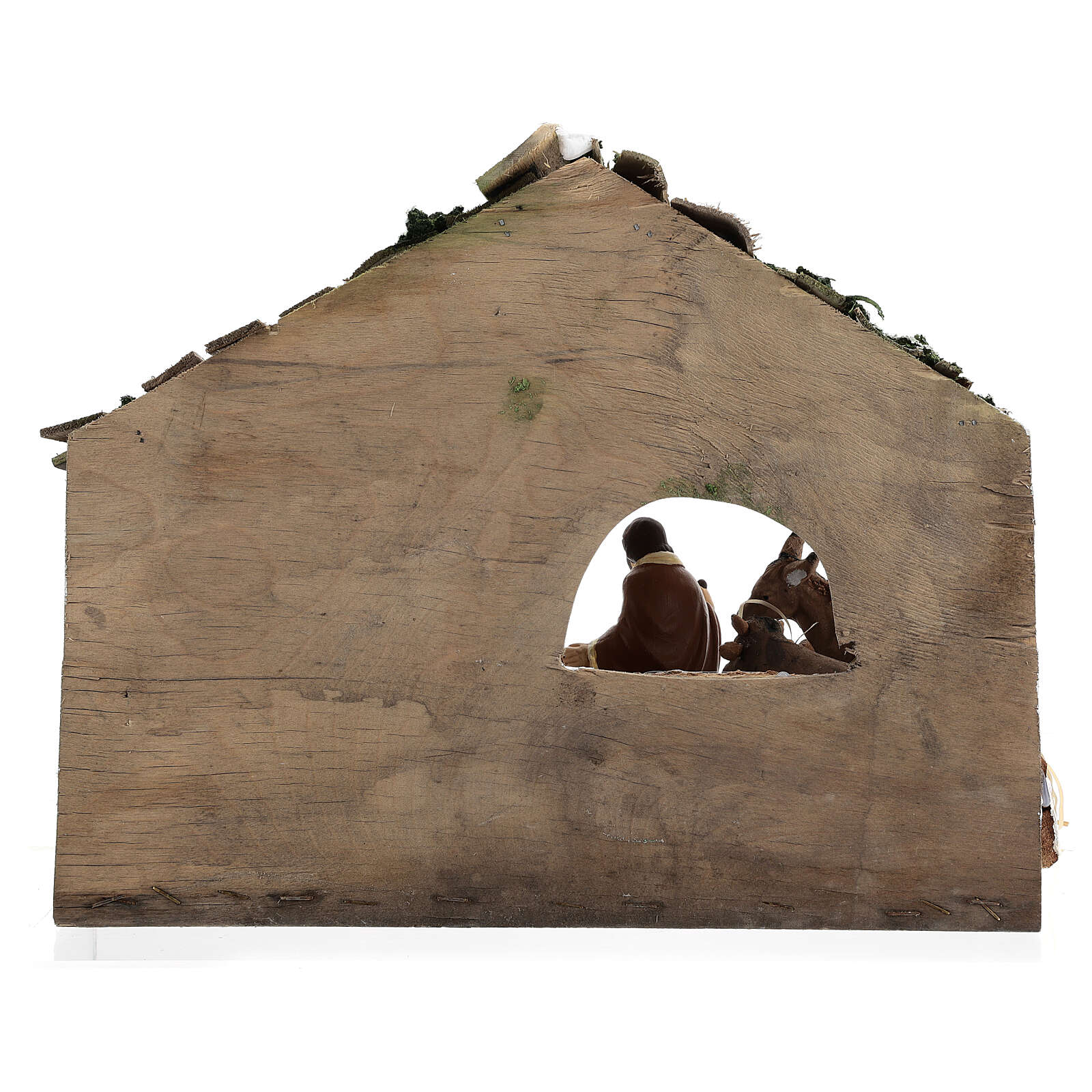 Wooden stable with terracotta painted statues 12 cm Deruta 30x35x20 cm 4