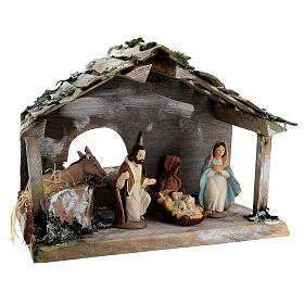 Wooden stable with terracotta painted statues 12 cm Deruta 30x35x20 cm s4