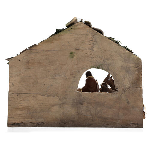 Wooden stable with terracotta painted statues 12 cm Deruta 30x35x20 cm 5