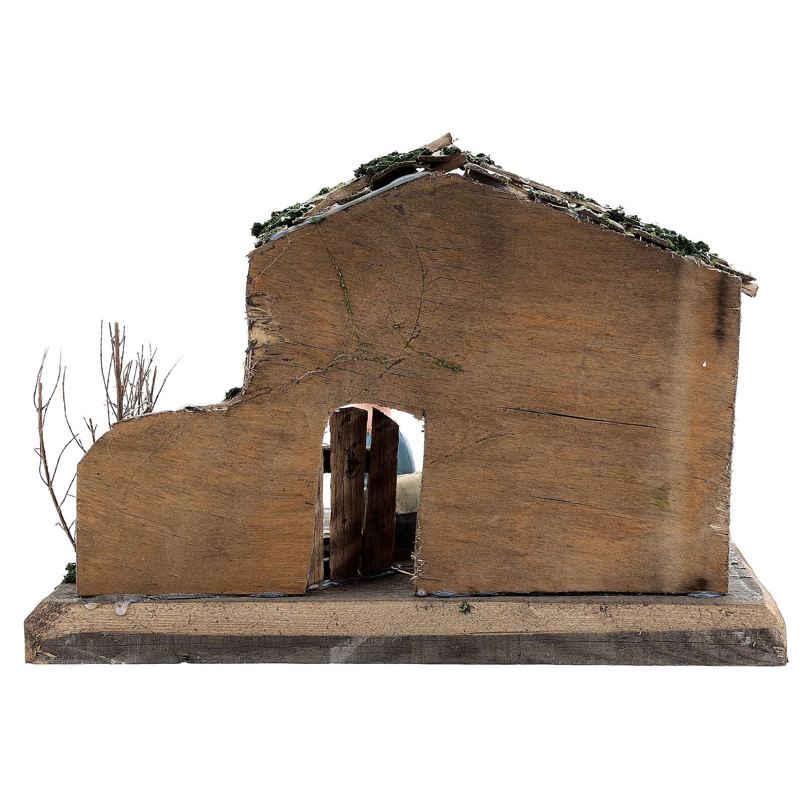 Cabane Nativité peinte terre cuite Deruta 10 cm bois 20x30x20 cm 4