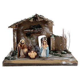 Cabane Nativité peinte terre cuite Deruta 10 cm bois 20x30x20 cm s1