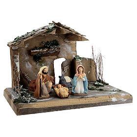 Cabane Nativité peinte terre cuite Deruta 10 cm bois 20x30x20 cm s4