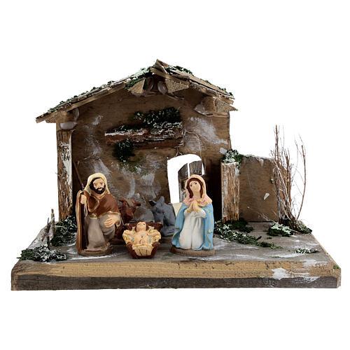 Cabane Nativité peinte terre cuite Deruta 10 cm bois 20x30x20 cm 1