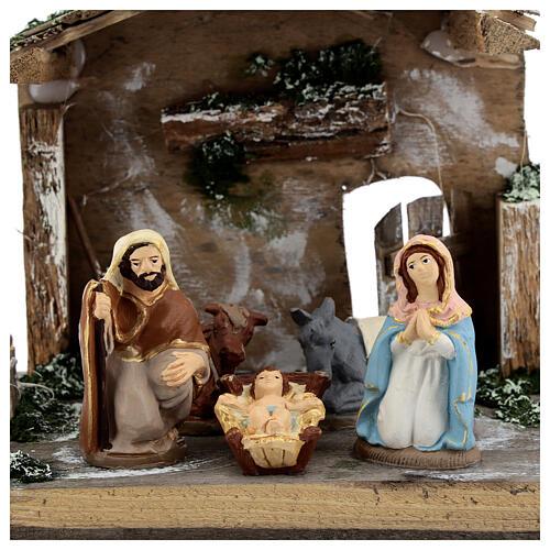Cabane Nativité peinte terre cuite Deruta 10 cm bois 20x30x20 cm 2