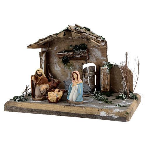 Cabane Nativité peinte terre cuite Deruta 10 cm bois 20x30x20 cm 3