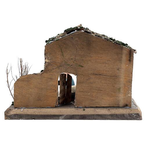 Cabane Nativité peinte terre cuite Deruta 10 cm bois 20x30x20 cm 5