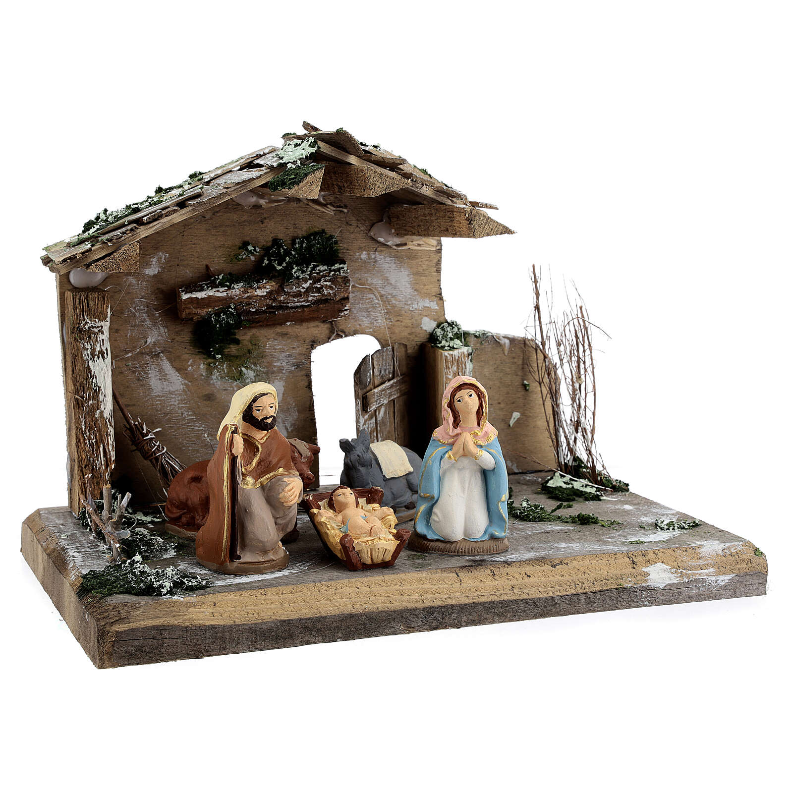 Nativity stable painted Deruta terracotta 10 cm wood 20x30x20 cm 4