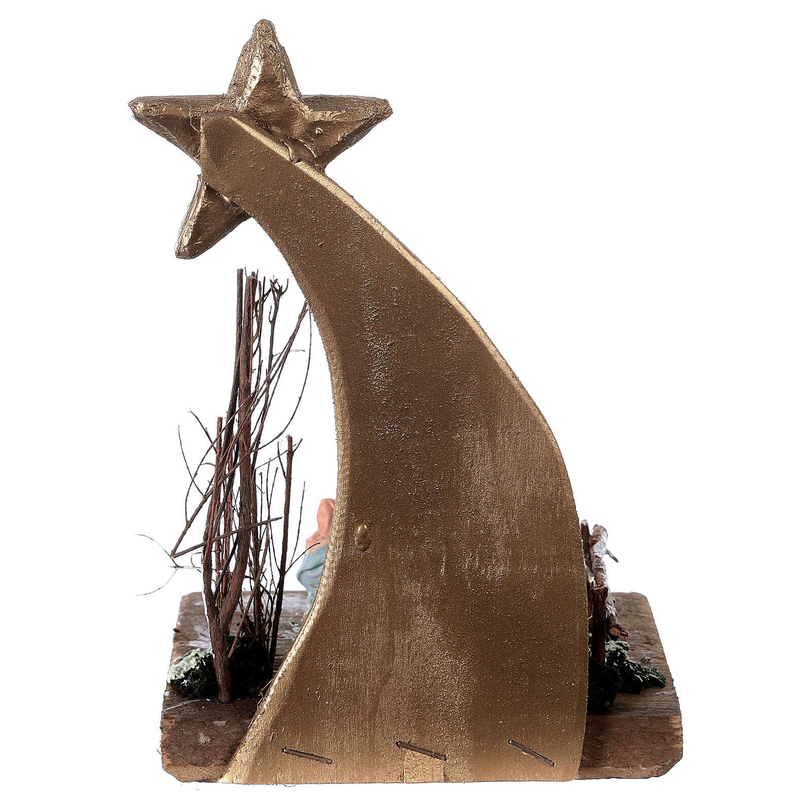Crèche comète santons terre cuite peinte 3 cm Deruta 20x10x10 cm 4