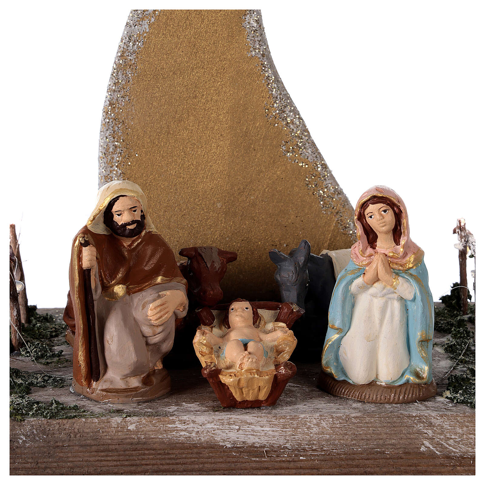 Miniature Nativity 8 cm with golden comet terracotta Deruta 25x20x15 cm 4