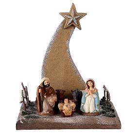 Miniature Nativity 8 cm with golden comet terracotta Deruta 25x20x15 cm s1