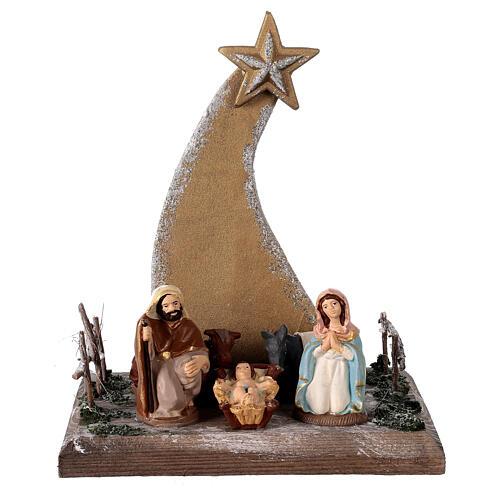 Miniature Nativity 8 cm with golden comet terracotta Deruta 25x20x15 cm 1