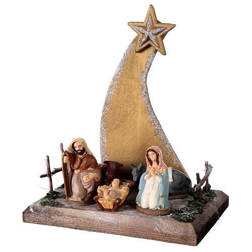 Miniature Nativity 8 cm with golden comet terracotta Deruta 25x20x15 cm 3