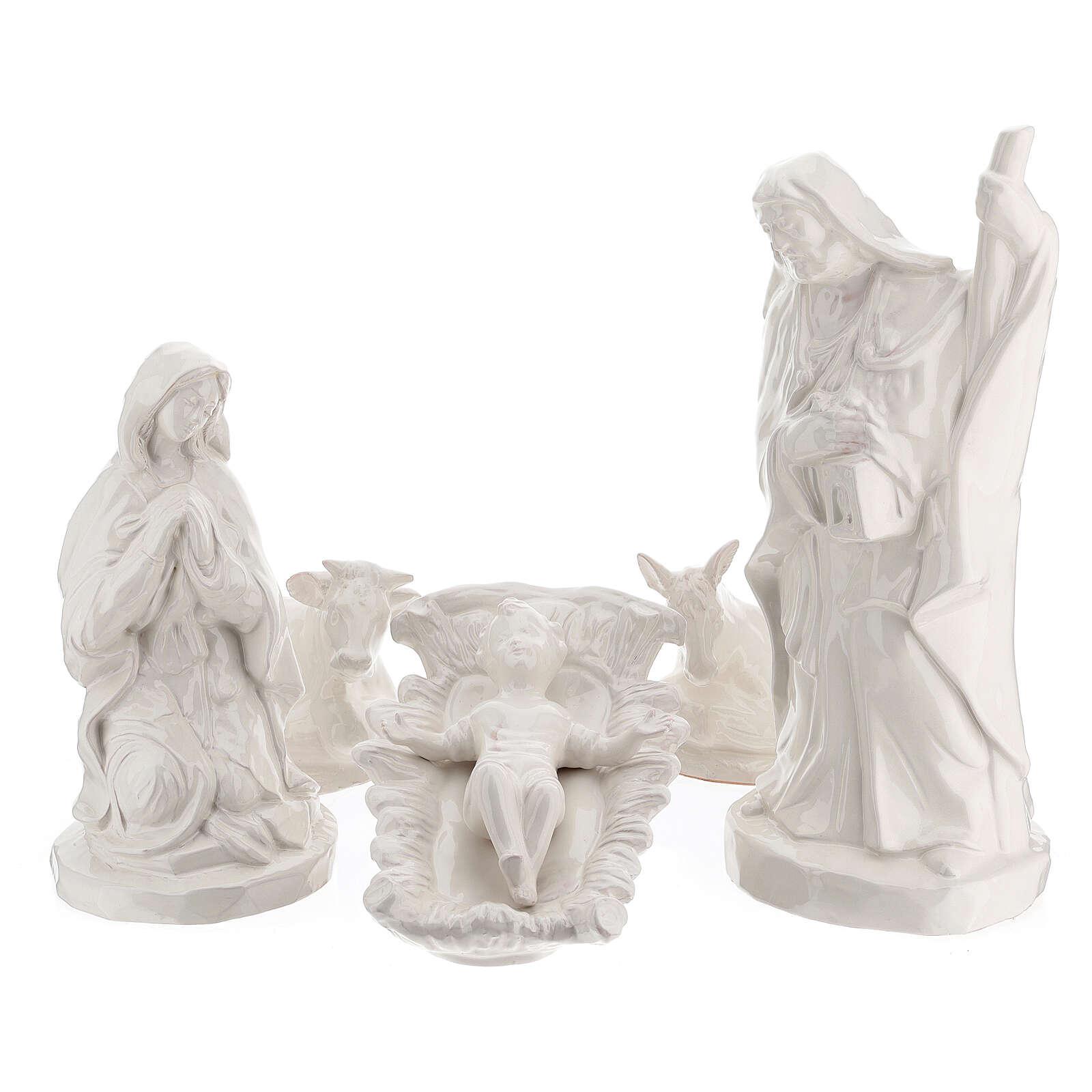 Presepe ceramica bianco Natività 5 pz 50 cm Deruta 4