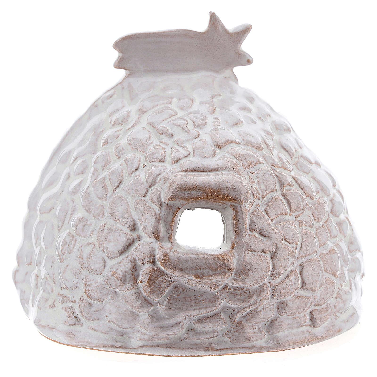 Capanna effetto sasso Natività terracotta bianca Deruta 10 cm 4