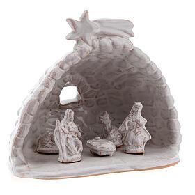 Capanna effetto sasso Natività terracotta bianca Deruta 10 cm s3