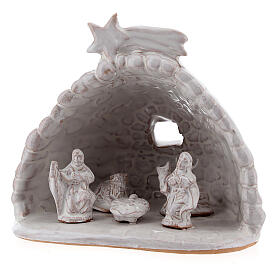 Stable with rock effect white Nativity Deruta terracotta 10 cm s2