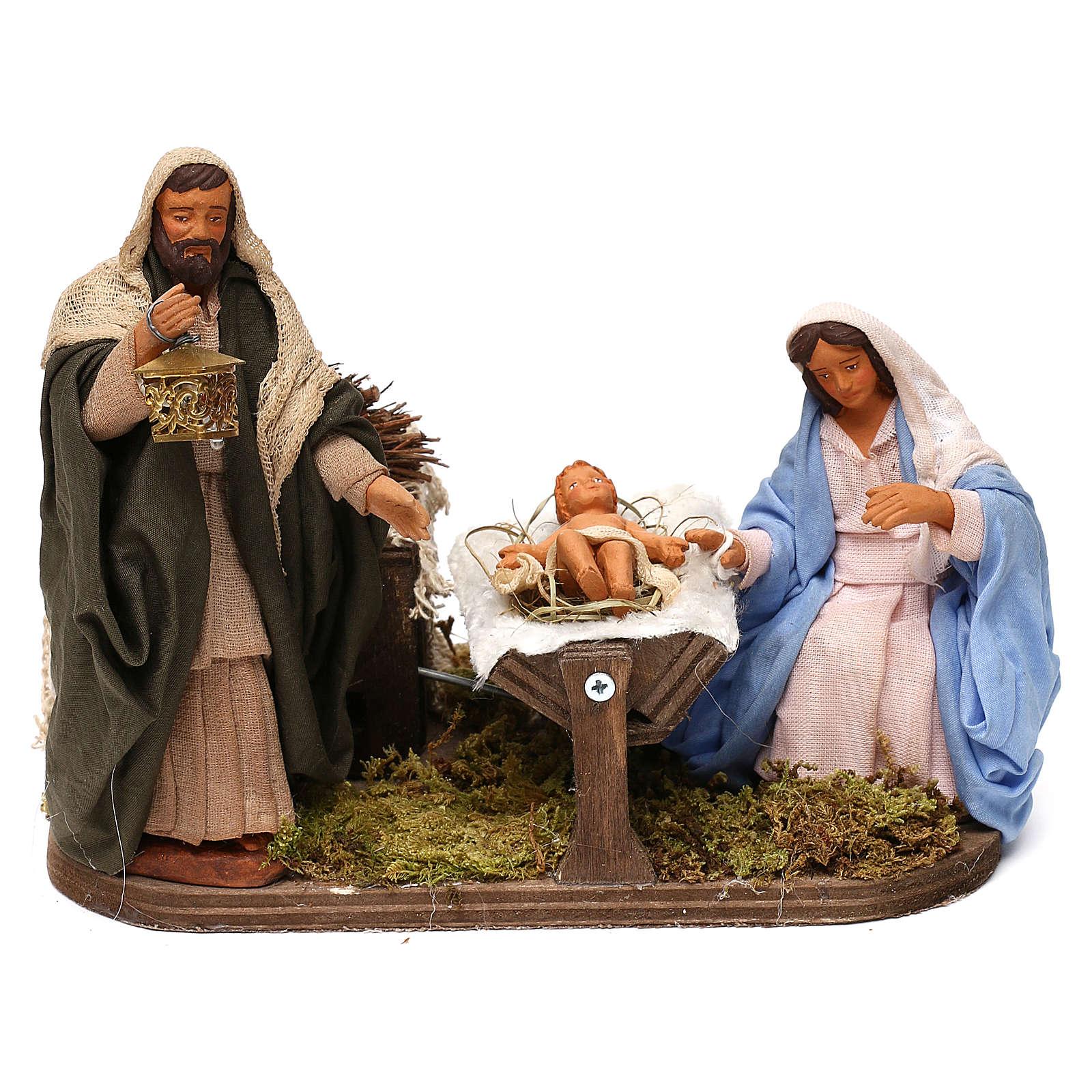 Sainte Famille animée crèche 12 cm 4