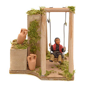 Presépio Napolitano: Movimento presépio criança no balanço para presépio napolitano com figuras 12 cm  altura média