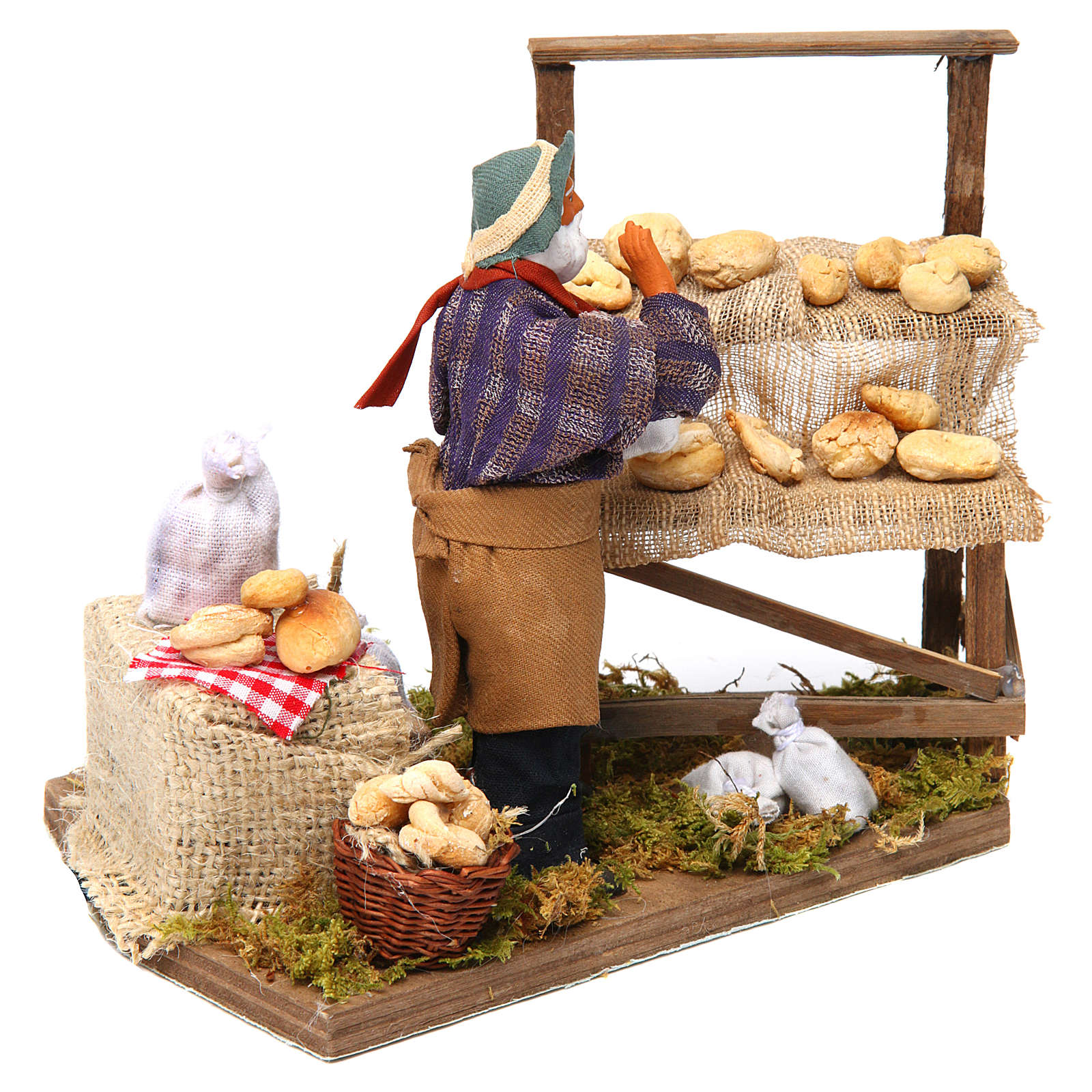 Animated nativity scene, bread seller 12 cm 4