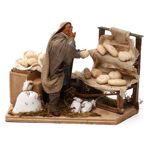 Animated nativity scene, bread seller 12 cm 5