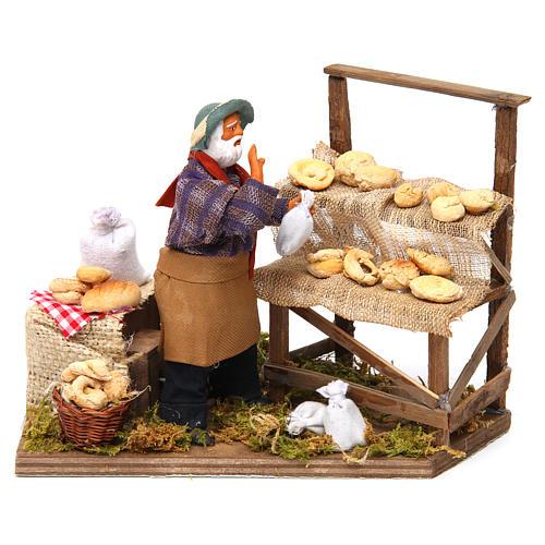 Animated nativity scene, bread seller 12 cm 1