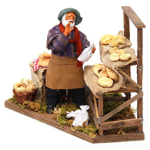 Animated nativity scene, bread seller 12 cm 2